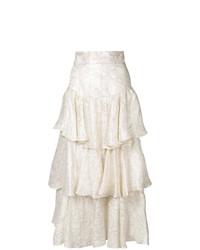 Jupe longue à fleurs blanche Bambah