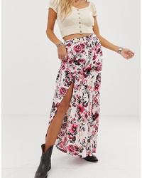 Jupe longue à fleurs rose En Creme
