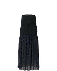 Jupe longue à rayures verticales bleu marine Rokh