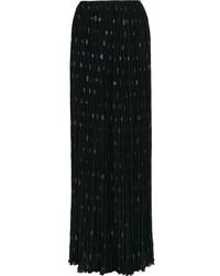 Jupe longue en chiffon plissée noire Lanvin