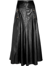 Jupe longue en cuir noire Chloé