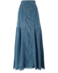 Jupe longue en denim bleue Chloé