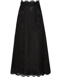 Jupe longue en dentelle noire Valentino