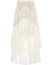 Jupe longue en soie blanche Chloé