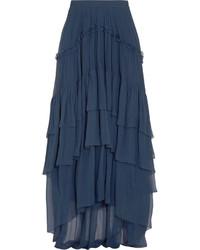 Jupe longue en soie bleu marine Chloé