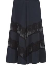 Jupe longue en soie bleu marine Stella McCartney