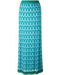 Jupe longue en soie en tricot bleu canard Missoni