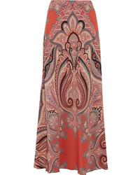 Jupe longue en soie imprimée cachemire rouge Etro