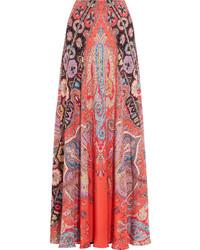 Jupe longue en soie imprimée rouge Etro
