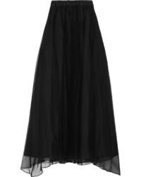 Jupe longue en soie plissée noire Brunello Cucinelli