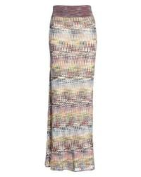 Jupe longue en tricot multicolore