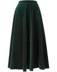 Jupe longue en velours vert foncé MM6 MAISON MARGIELA