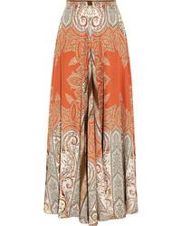 Jupe longue imprimée cachemire orange Etro