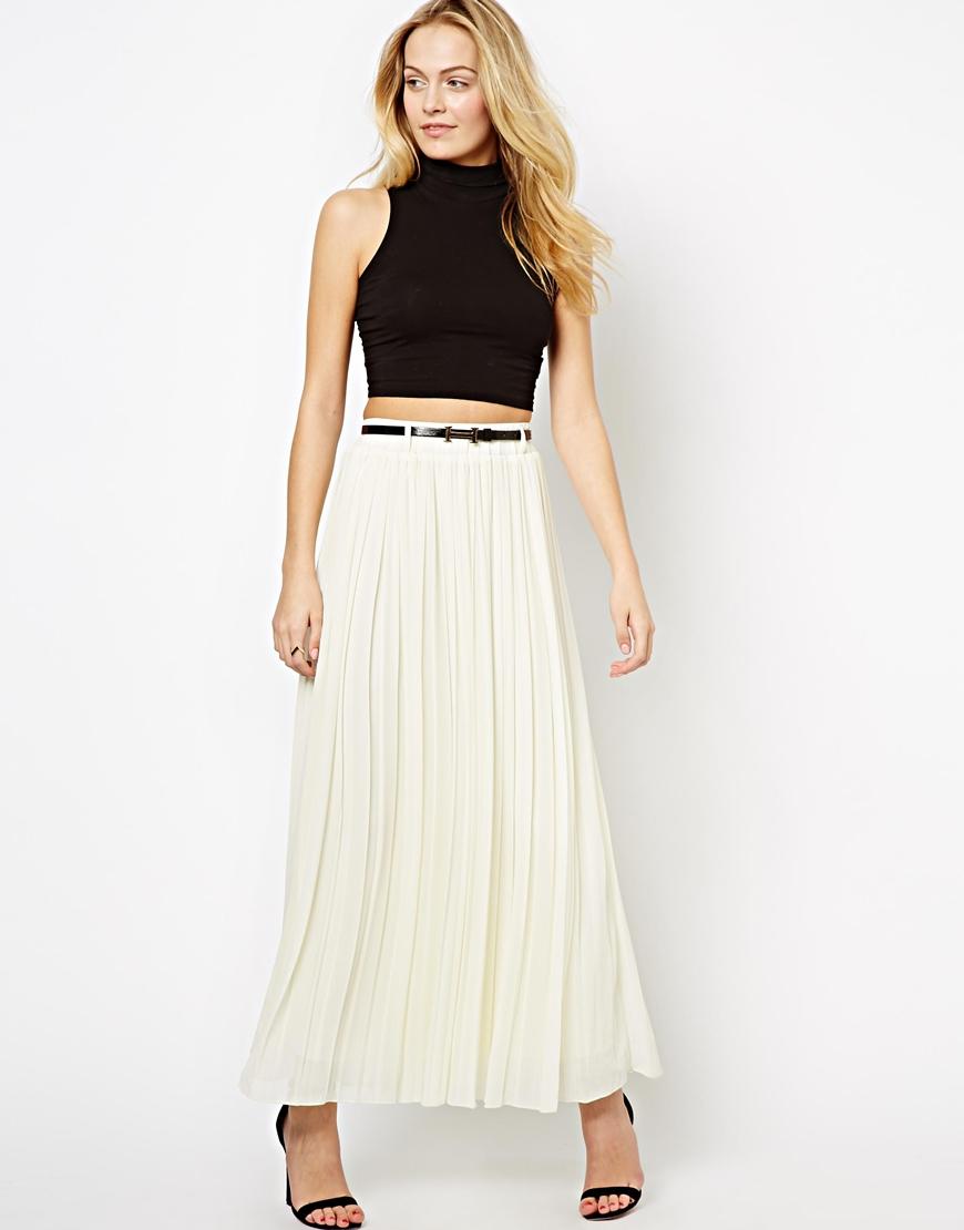183c6f63f59e ... Jupe longue plissée blanche The Style