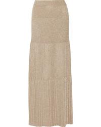 Jupe longue plissée dorée
