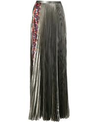 Jupe longue plissée dorée Versace