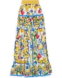 Jupe longue plissée jaune Dolce & Gabbana