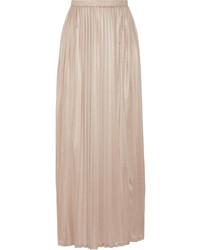 Jupe longue plissée marron clair