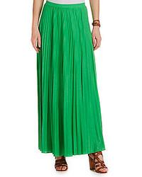 Jupe longue plissée verte
