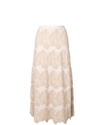 Jupe mi-longue à fleurs beige D-Exterior