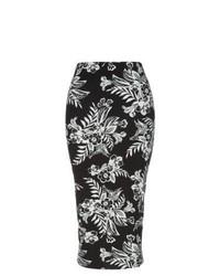 Jupe mi-longue à fleurs noire et blanche