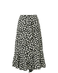 Jupe mi-longue à fleurs noire et blanche Proenza Schouler