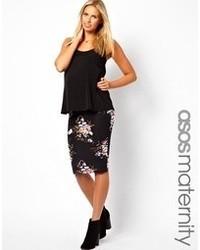 Jupe mi-longue à fleurs noire Asos Maternity