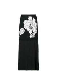 Jupe mi-longue à fleurs noire Boutique Moschino