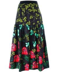 Jupe mi-longue à fleurs noire I'M Isola Marras