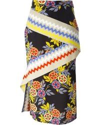 Jupe mi-longue à fleurs noire MSGM