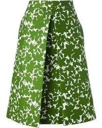 Jupe mi-longue à fleurs verte Michael Kors
