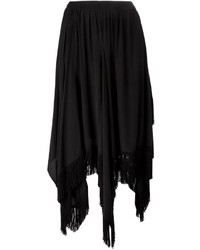 Jupe mi-longue à franges noire Zucca
