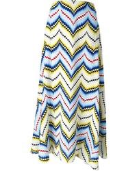Jupe mi-longue à motif zigzag multicolore Kenzo
