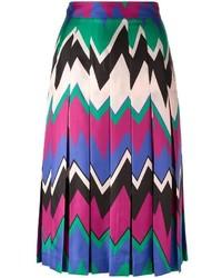 Jupe mi-longue à motif zigzag multicolore Salvatore Ferragamo