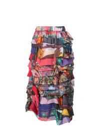 Jupe mi-longue à patchwork multicolore Comme des Garcons