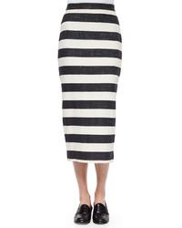 Jupe mi-longue à rayures horizontales blanche et noire