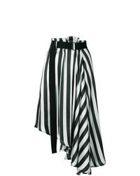 Jupe mi-longue à rayures verticales blanche et noire Ann Demeulemeester