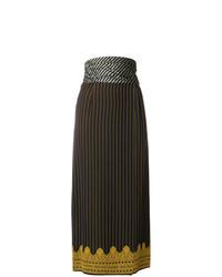 Jupe mi-longue à rayures verticales bleu marine Jean Paul Gaultier Vintage