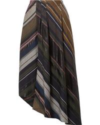 Jupe mi-longue à rayures verticales multicolore