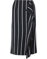 Jupe mi-longue à rayures verticales noire et blanche
