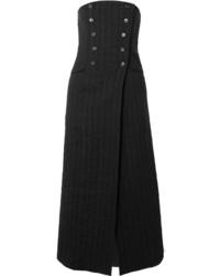 Jupe mi-longue à rayures verticales noire