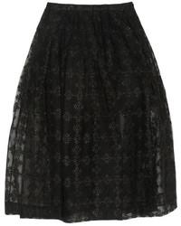 Jupe mi-longue de tulle plissée noire