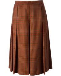 Jupe mi-longue écossaise brune Givenchy