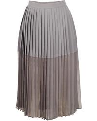 Jupe mi-longue en chiffon plissée grise