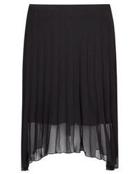 Jupe mi-longue en chiffon plissée noire