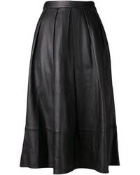 Jupe mi-longue en cuir plissée noire