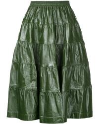 Jupe mi-longue en cuir plissée vert foncé