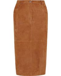 Jupe mi-longue en daim marron