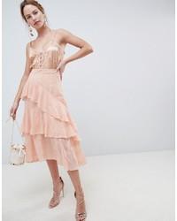 Jupe mi-longue en dentelle brodée rose ASOS DESIGN