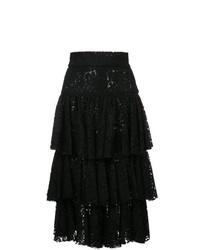 Jupe mi-longue en dentelle noire Bambah